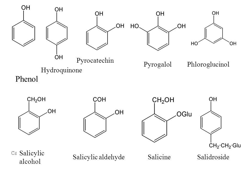 Phenol Hydroquinone Pyrocatechin PyrogalolPhloroglucinol Salicylic alcohol Salicylic aldehydeSalicineSalidroside
