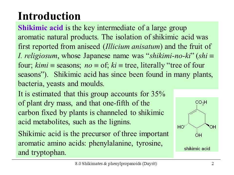 8.0 Shikimates & phenylpropanoids (Dayrit)2 Shikimic acid is the key intermediate of a large group aromatic natural products. The isolation of shikimi