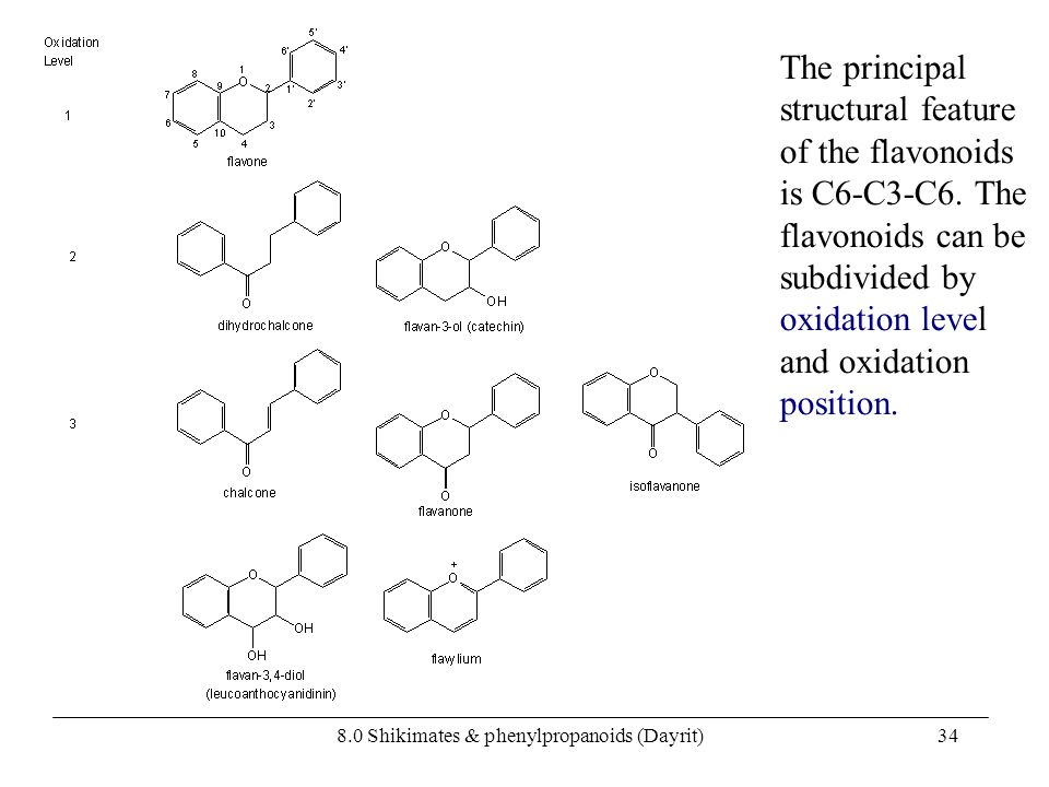 8.0 Shikimates & phenylpropanoids (Dayrit)34 The principal structural feature of the flavonoids is C6-C3-C6. The flavonoids can be subdivided by oxida