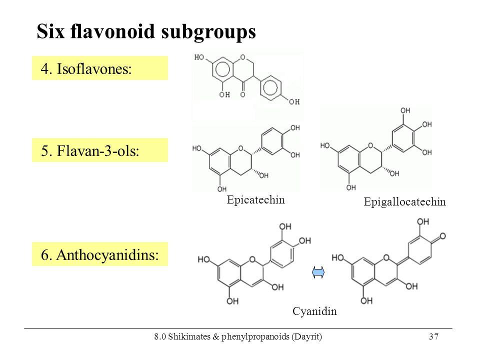 8.0 Shikimates & phenylpropanoids (Dayrit)37 Six flavonoid subgroups 5. Flavan-3-ols: 4. Isoflavones: 6. Anthocyanidins: Epicatechin Epigallocatechin