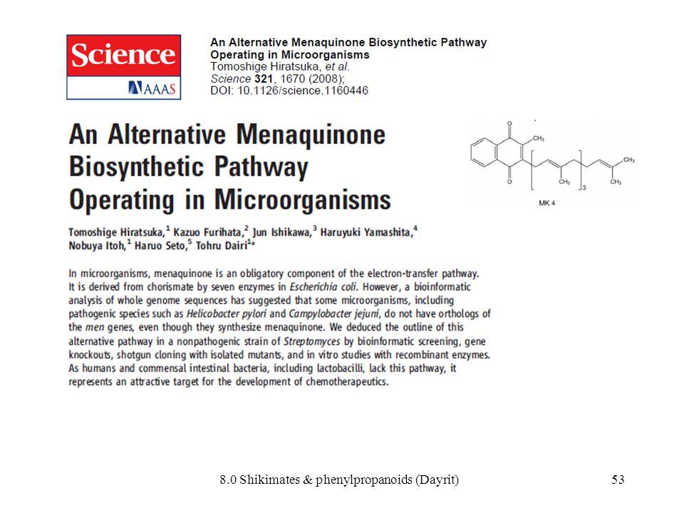 8.0 Shikimates & phenylpropanoids (Dayrit)53