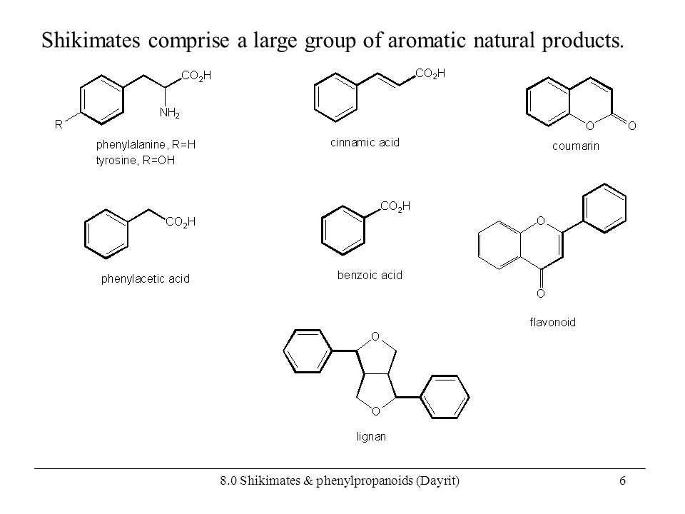 8.0 Shikimates & phenylpropanoids (Dayrit)6 Shikimates comprise a large group of aromatic natural products.