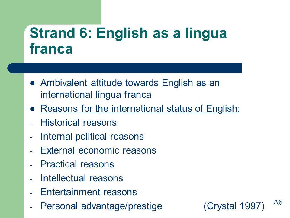 Strand 6: English as a lingua franca Ambivalent attitude towards English as an international lingua franca Reasons for the international status of Eng