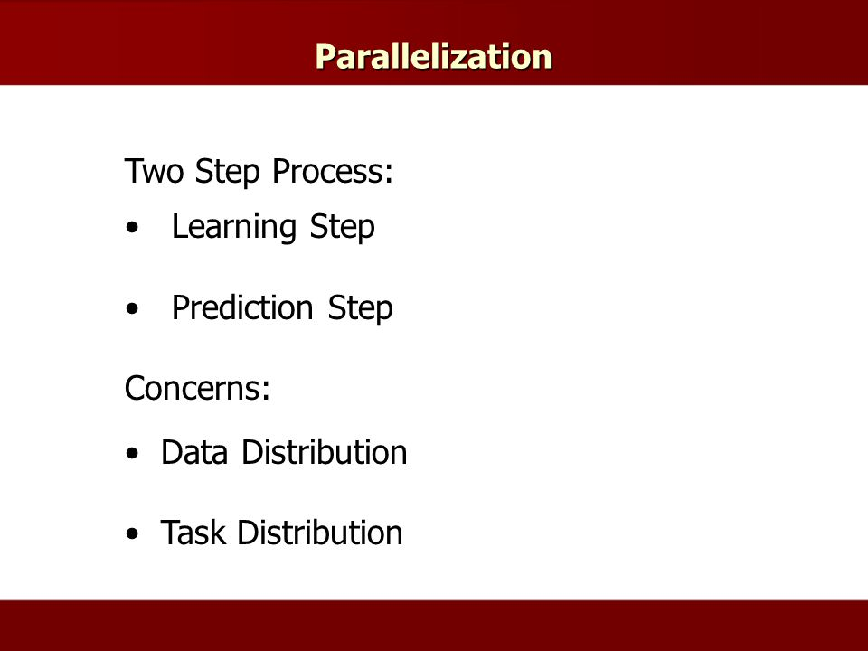 Parallelization Two Step Process: Learning Step Prediction Step Concerns: Data Distribution Task Distribution
