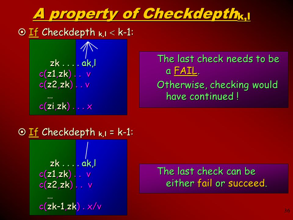 36 A property of Checkdepth k,l The last check needs to be a FAIL.