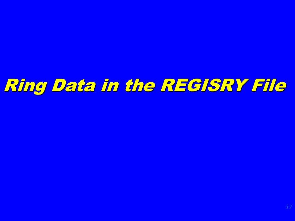 12 Ring Data in the REGISRY File