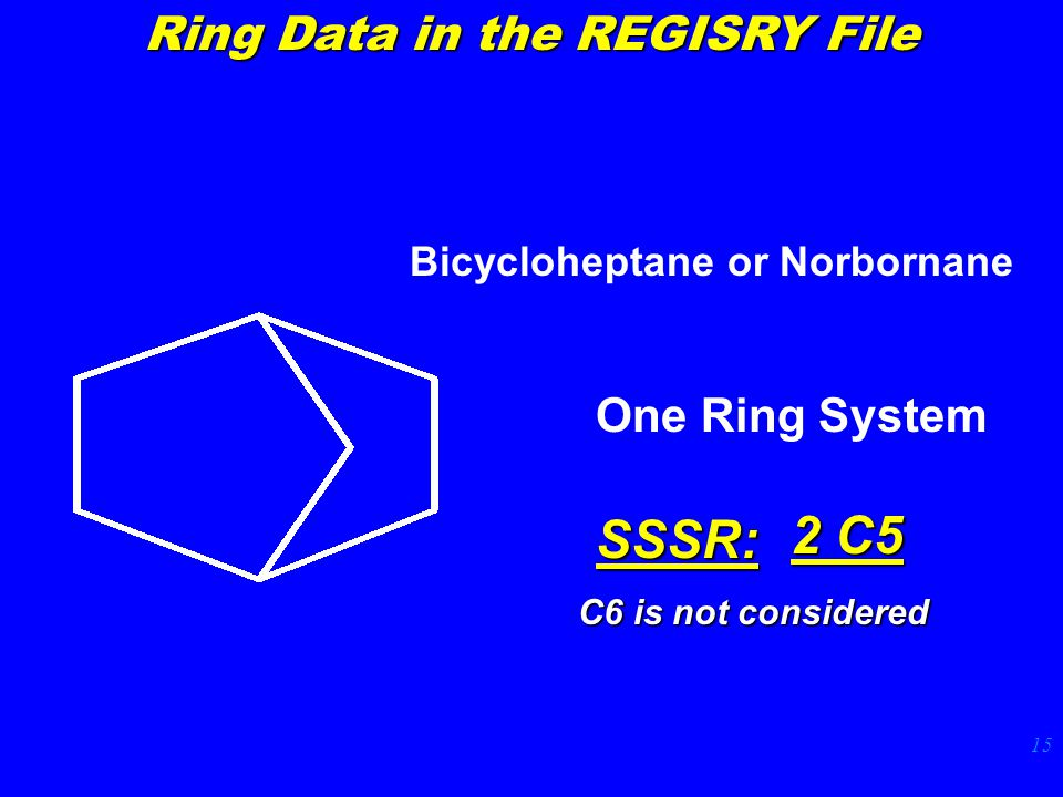 15 Bicycloheptane or Norbornane One Ring SystemSSSR: 2 C5 Ring Data in the REGISRY File C6 is not considered