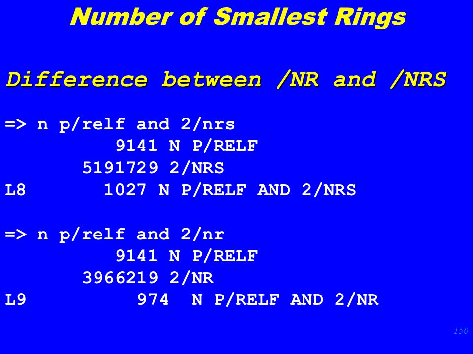 150 Difference between /NR and /NRS => n p/relf and 2/nrs 9141 N P/RELF /NRS L N P/RELF AND 2/NRS => n p/relf and 2/nr 9141 N P/RELF /NR L9 974 N P/RELF AND 2/NR Number of Smallest Rings