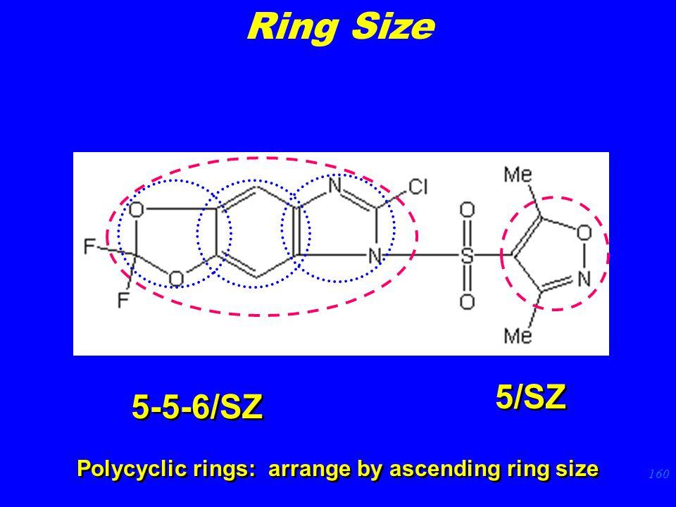 160 5-5-6/SZ Polycyclic rings: arrange by ascending ring size 5/SZ Ring Size