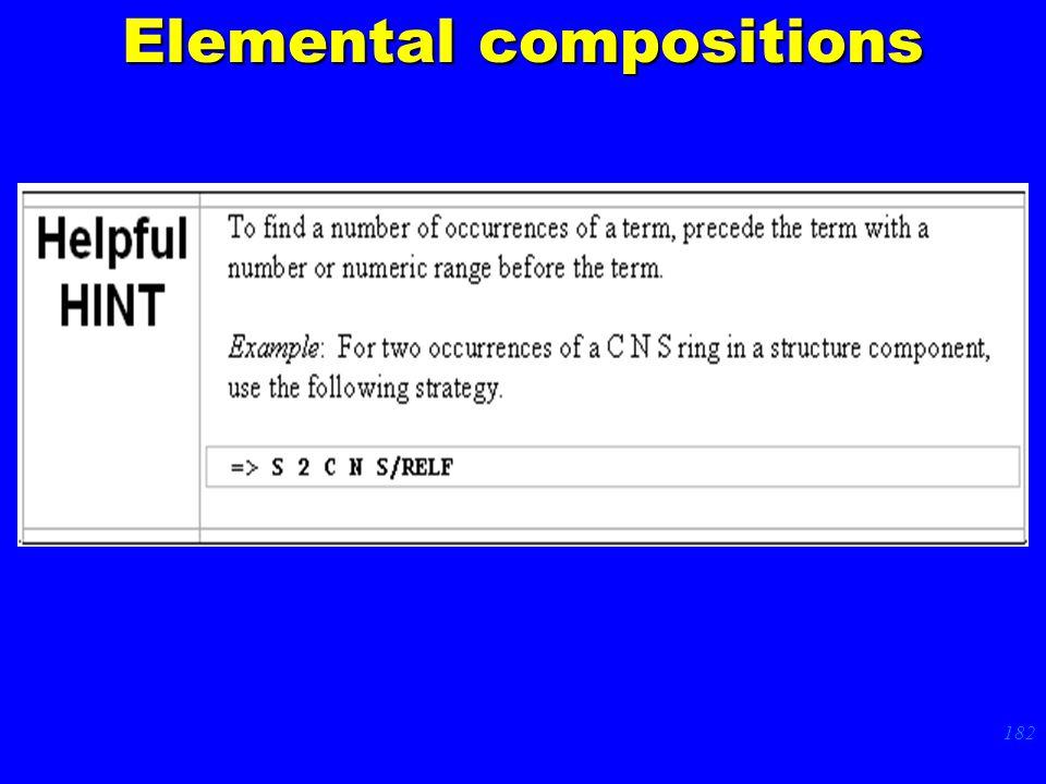 182 p. 62 Elemental compositions