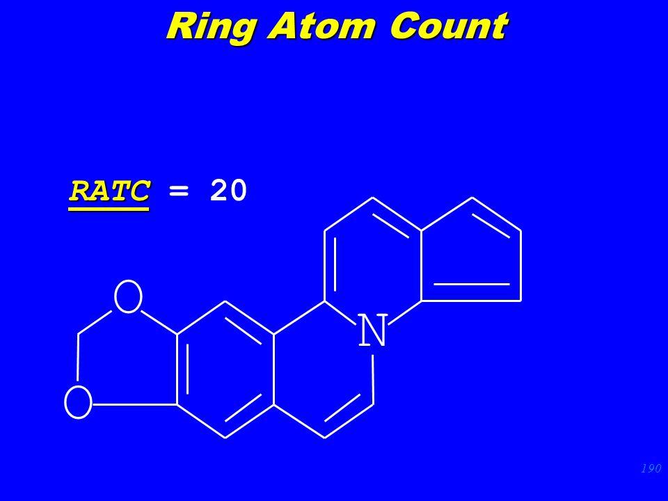 190 N O O RATC RATC = 20 Ring Atom Count