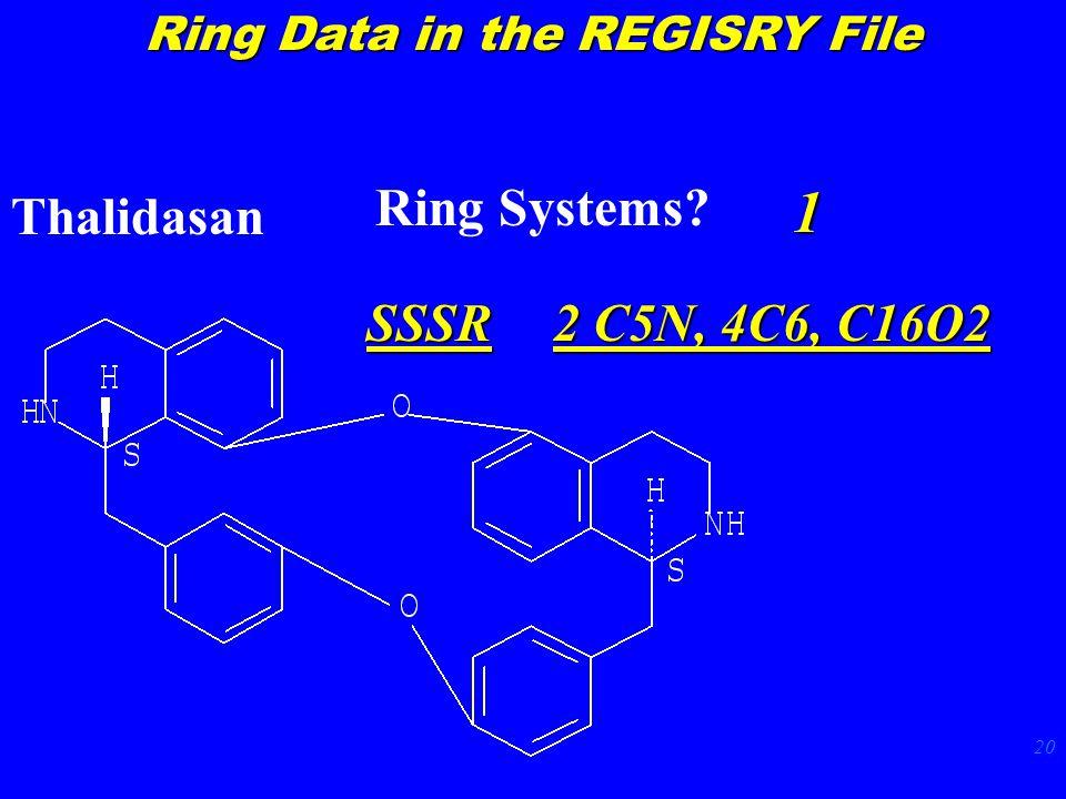 20 Thalidasan Ring Systems 1 SSSR 2 C5N, 4C6, C16O2 Ring Data in the REGISRY File