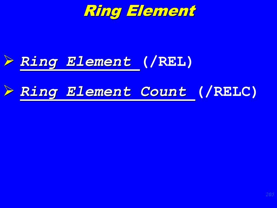 205  Ring Element  Ring Element (/REL)  Ring Element Count  Ring Element Count (/RELC) Ring Element