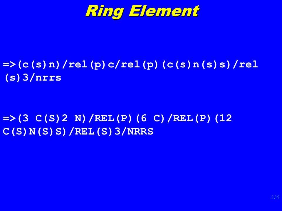 210 =>(c(s)n)/rel(p)c/rel(p)(c(s)n(s)s)/rel (s)3/nrrs =>(3 C(S)2 N)/REL(P)(6 C)/REL(P)(12 C(S)N(S)S)/REL(S)3/NRRS Ring Element