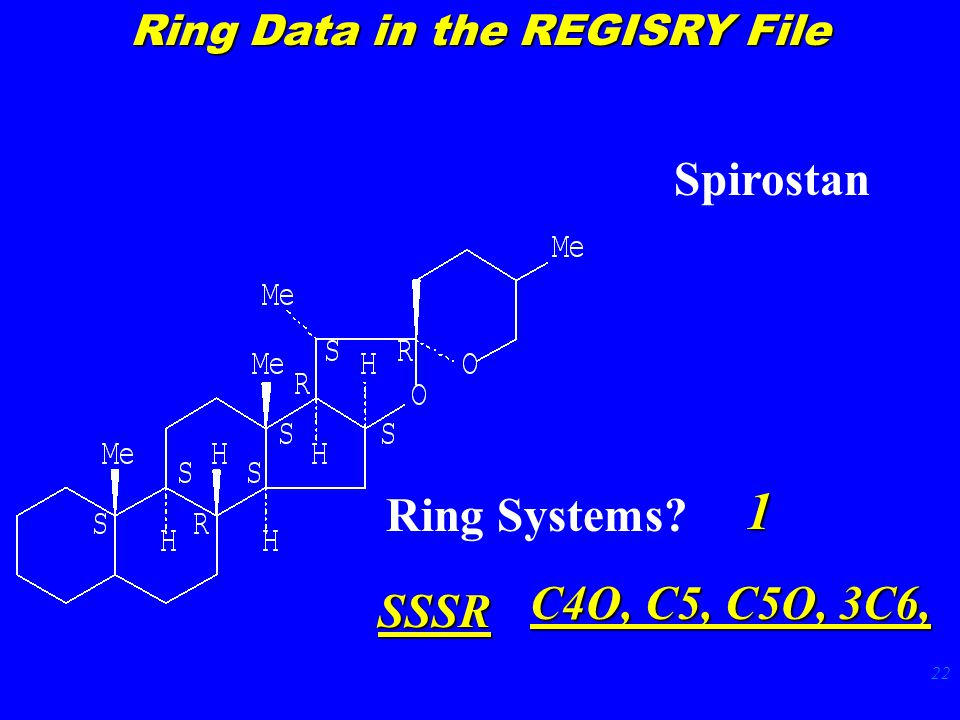 22 Spirostan Ring Systems? 1 SSSR C4O, C5, C5O, 3C6, Ring Data in the REGISRY File