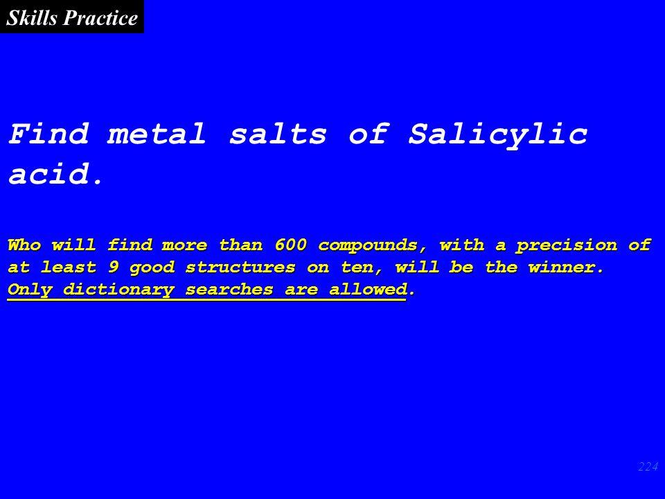 224 Find metal salts of Salicylic acid.