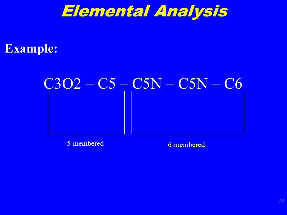 34 Elemental Analysis C3O2 – C5 – C5N – C5N – C6 5-membered 6-membered Example: