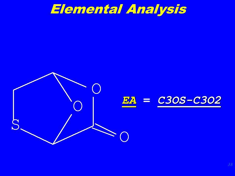 38 EAC3OS-C3O2 EA = C3OS-C3O2 Elemental Analysis