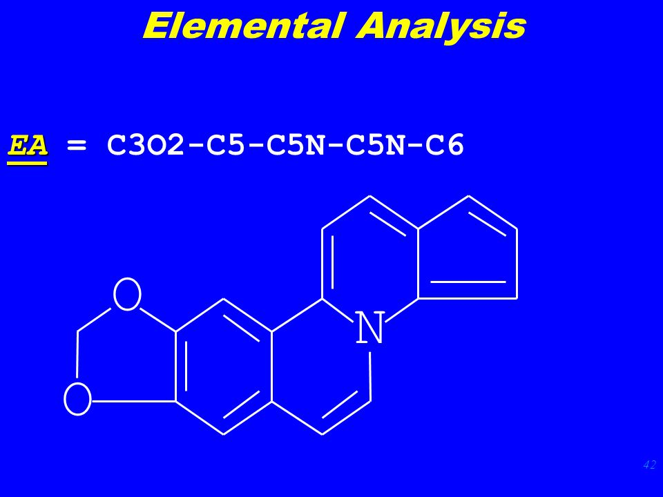 42 N O O EA EA = C3O2-C5-C5N-C5N-C6 Elemental Analysis