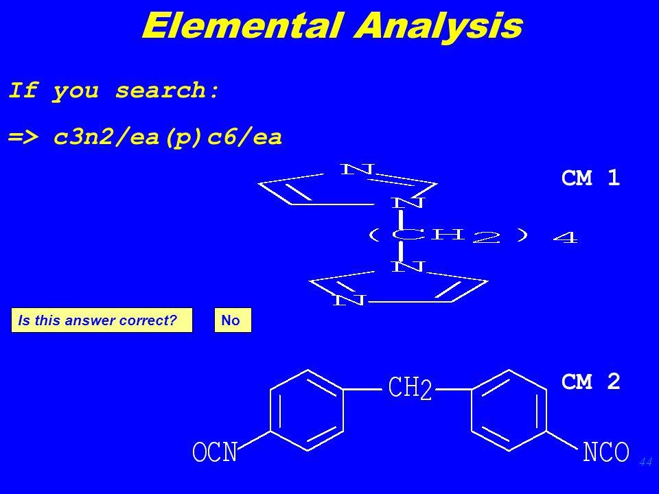 44 If you search: => c3n2/ea(p)c6/ea CM 2 CM 1 Is this answer correct Elemental Analysis No