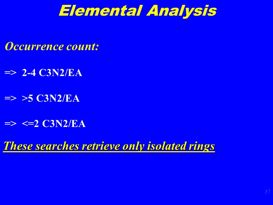 57 Elemental Analysis Occurrence count: => 2-4 C3N2/EA => >5 C3N2/EA => <=2 C3N2/EA These searches retrieve only isolated rings