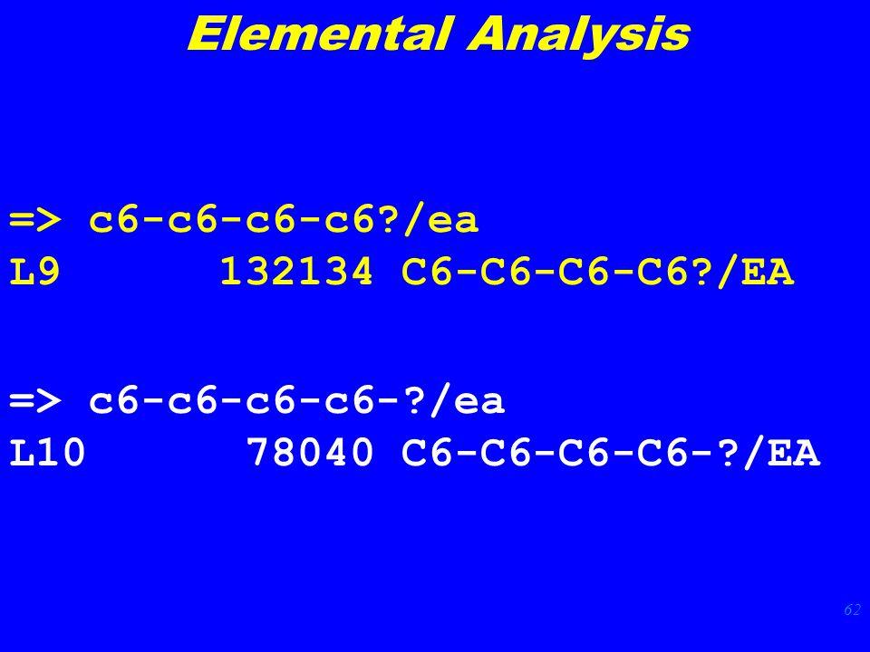 62 => c6-c6-c6-c6 /ea L9 132134 C6-C6-C6-C6 /EA => c6-c6-c6-c6- /ea L10 78040 C6-C6-C6-C6- /EA Elemental Analysis
