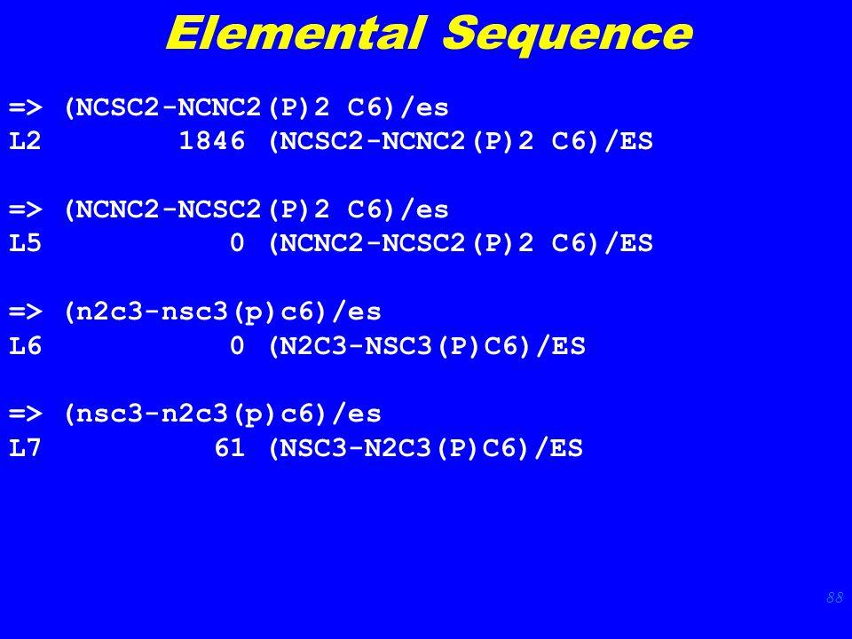 88 Elemental Sequence => (NCSC2-NCNC2(P)2 C6)/es L2 1846 (NCSC2-NCNC2(P)2 C6)/ES => (NCNC2-NCSC2(P)2 C6)/es L5 0 (NCNC2-NCSC2(P)2 C6)/ES => (n2c3-nsc3(p)c6)/es L6 0 (N2C3-NSC3(P)C6)/ES => (nsc3-n2c3(p)c6)/es L7 61 (NSC3-N2C3(P)C6)/ES