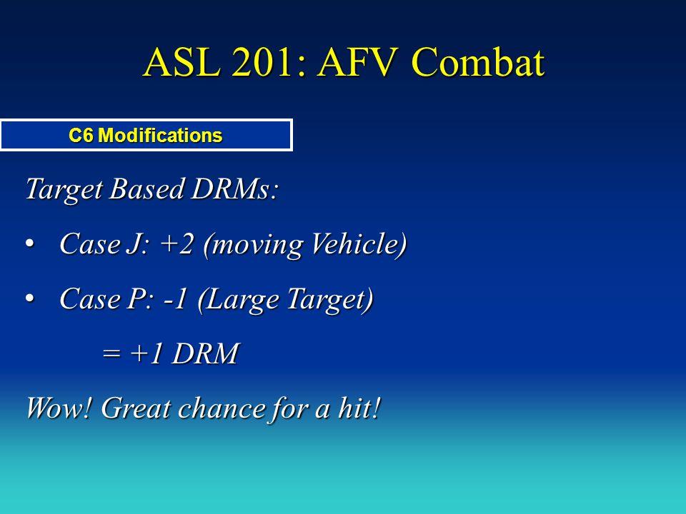 ASL 201: AFV Combat Target Based DRMs: Case J: +2 (moving Vehicle) Case J: +2 (moving Vehicle) Case P: -1 (Large Target) Case P: -1 (Large Target) = +