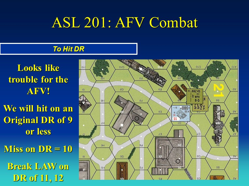 ASL 201: AFV Combat To Hit DR Looks like trouble for the AFV! We will hit on an Original DR of 9 or less Miss on DR = 10 Break LAW on DR of 11, 12
