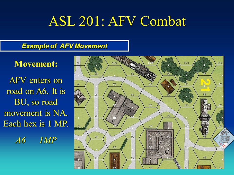 ASL 201: AFV Combat Example of AFV Movement Movement: AFV enters on road on A6. It is BU, so road movement is NA. Each hex is 1 MP. A61MP