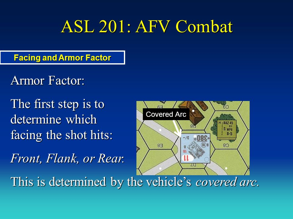 ASL 201: AFV Combat Armor Factor: The first step is to determine which facing the shot hits: Front, Flank, or Rear. This is determined by the vehicle'