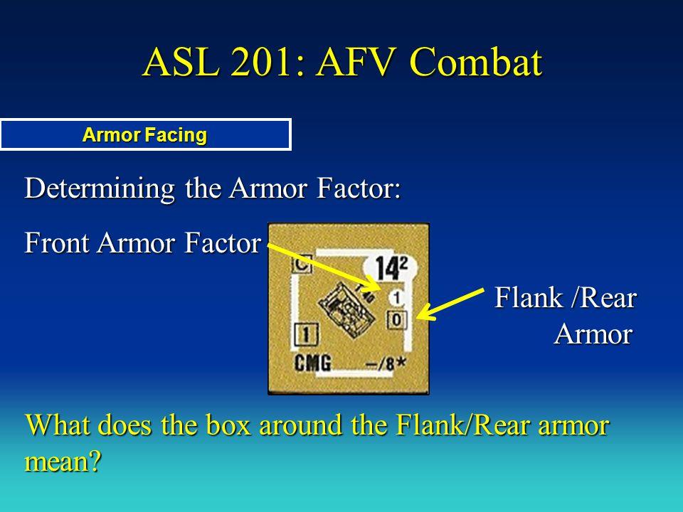 Determining the Armor Factor: Front Armor Factor Flank /Rear Armor Flank /Rear Armor What does the box around the Flank/Rear armor mean? ASL 201: AFV