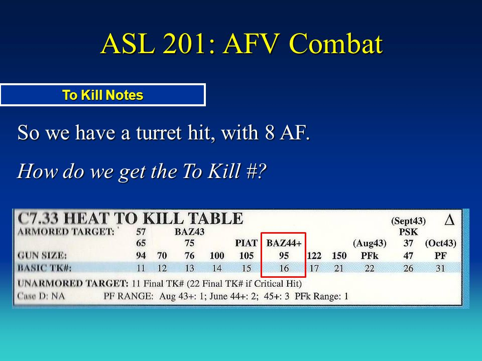 ASL 201: AFV Combat So we have a turret hit, with 8 AF. How do we get the To Kill #? To Kill Notes