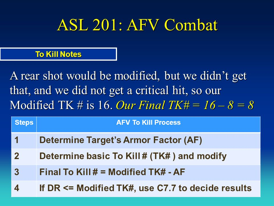 ASL 201: AFV Combat A rear shot would be modified, but we didn't get that, and we did not get a critical hit, so our Modified TK # is 16. Our Final TK