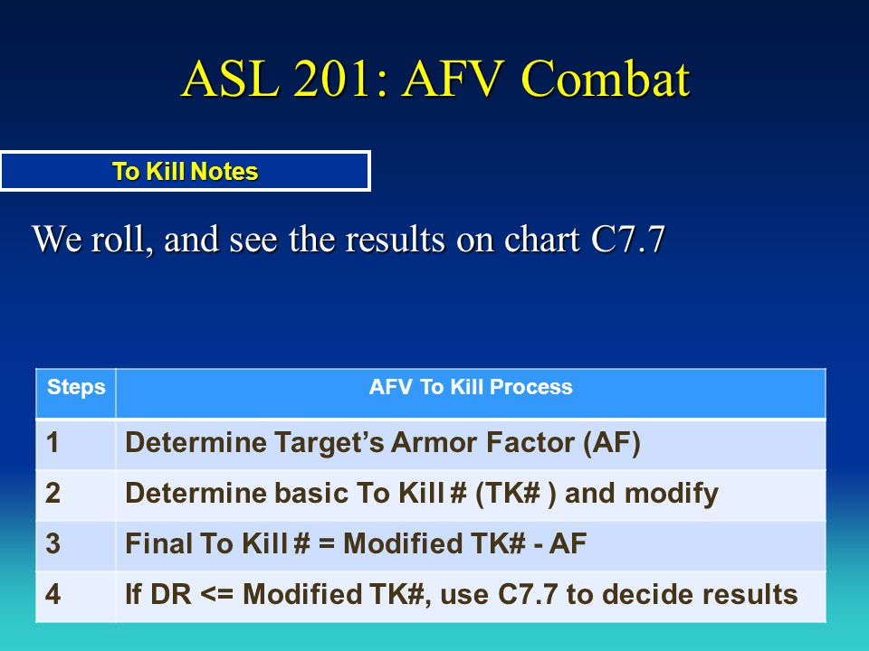 ASL 201: AFV Combat We roll, and see the results on chart C7.7 To Kill Notes StepsAFV To Kill Process 1Determine Target's Armor Factor (AF) 2Determine