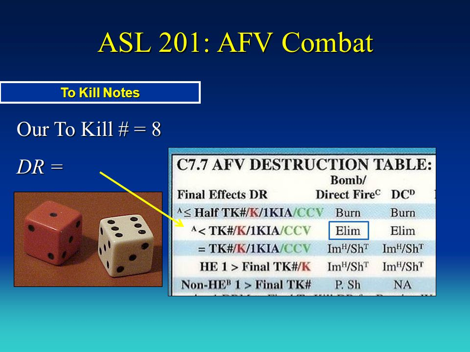 ASL 201: AFV Combat Our To Kill # = 8 DR = To Kill Notes