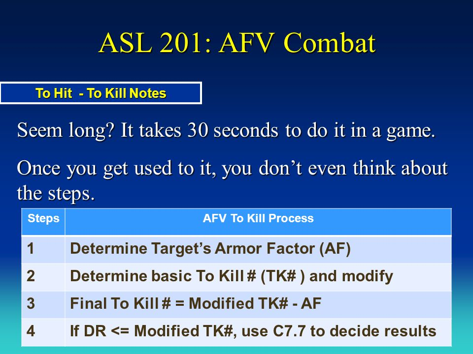 ASL 201: AFV Combat Seem long? It takes 30 seconds to do it in a game. Once you get used to it, you don't even think about the steps. To Hit - To Kill