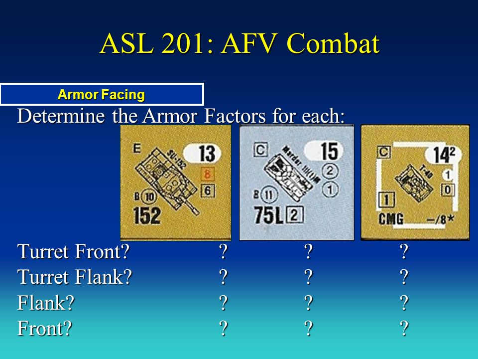Determine the Armor Factors for each: ASL 201: AFV Combat Armor Facing Turret Front? ??? Turret Flank? ??? Flank? ??? Front? ???