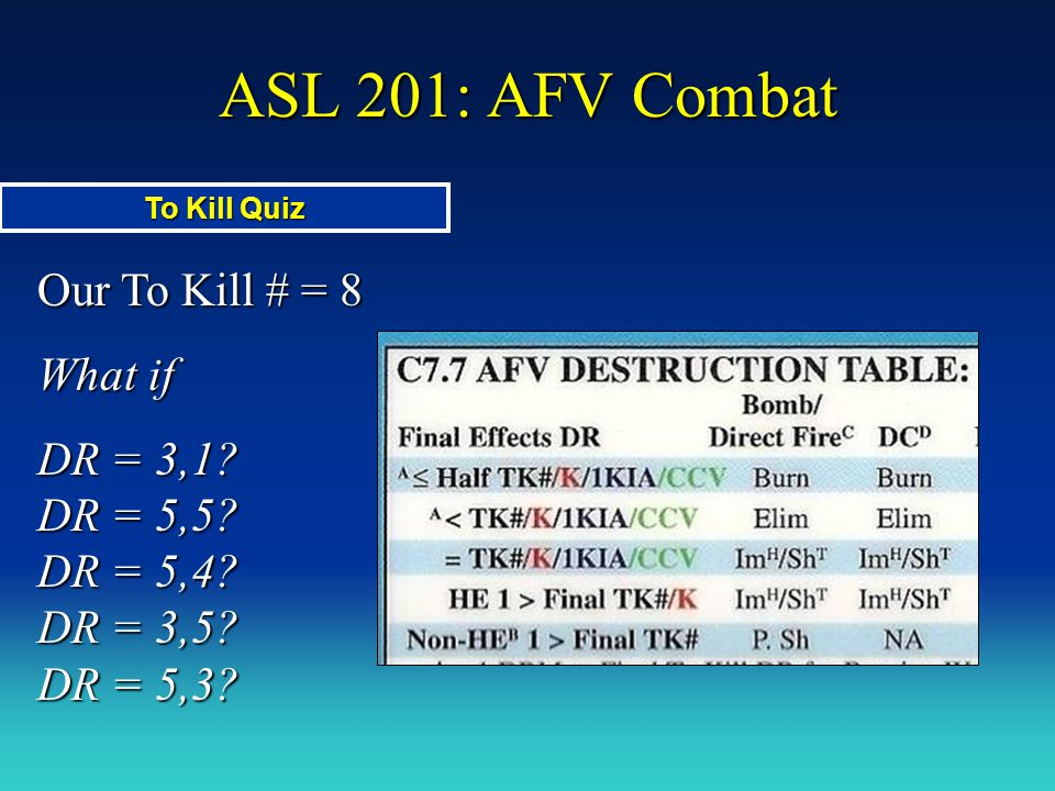 ASL 201: AFV Combat Our To Kill # = 8 What if DR = 3,1? DR = 5,5? DR = 5,4? DR = 3,5? DR = 5,3? To Kill Quiz