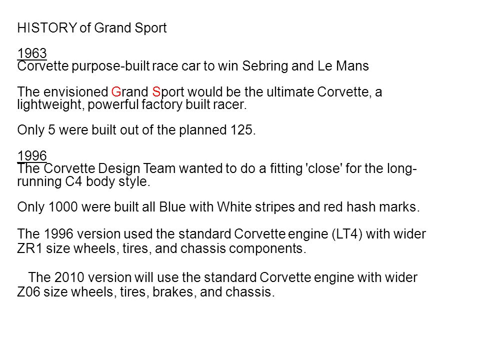 HISTORY of Grand Sport 1963 Corvette purpose-built race car to win Sebring and Le Mans The envisioned Grand Sport would be the ultimate Corvette, a li