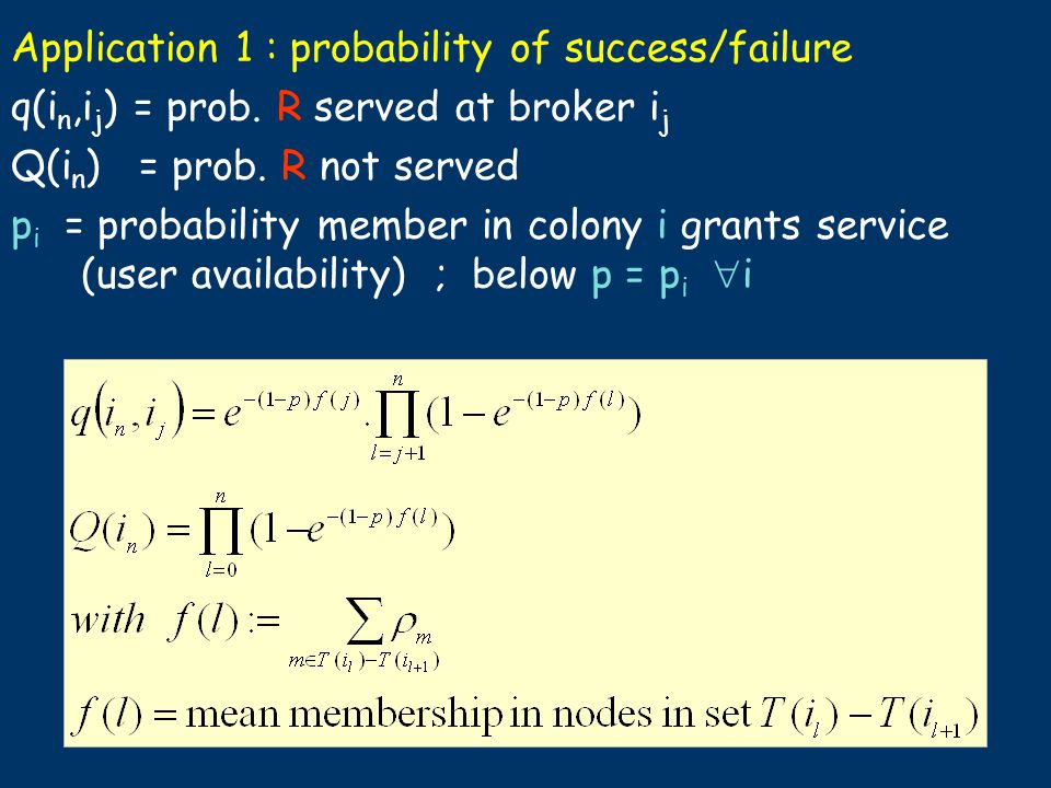Application 1 : probability of success/failure q(i n,i j ) = prob. R served at broker i j Q(i n ) = prob. R not served p i = probability member in col
