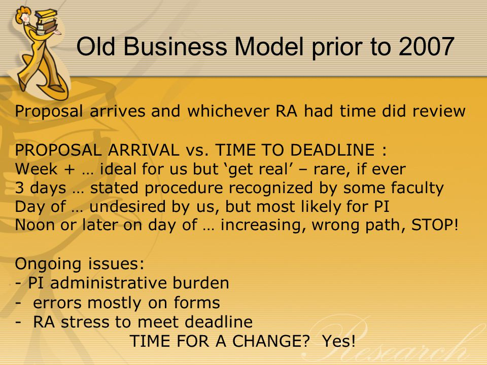 New Business Model 2007 Each RA has a portfolio of about 150 investigators RA completes the non-science portions of proposal Faculty focus on the science of proposal MORE WORK FOR RESEARCH ADMINISTRATORS?.