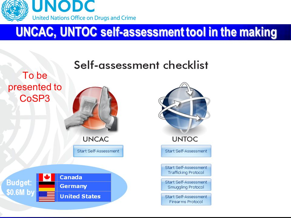 15 UNCAC, UNTOC self-assessment tool in the making To be presented to CoSP3 Budget: $0.6M by