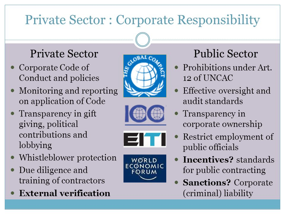 Private Sector : Corporate Responsibility Private Sector Corporate Code of Conduct and policies Monitoring and reporting on application of Code Transparency in gift giving, political contributions and lobbying Whistleblower protection Due diligence and training of contractors External verification Public Sector Prohibitions under Art.