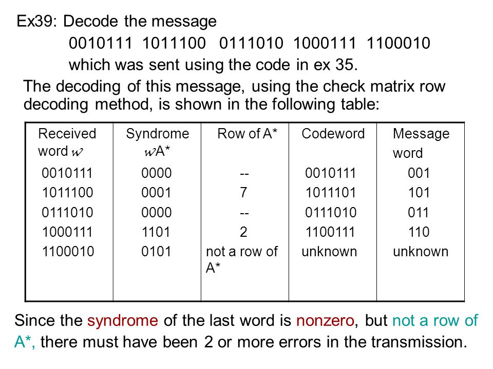 Ex39: Decode the message which was sent using the code in ex 35.