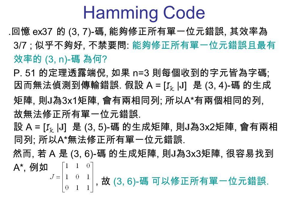 Hamming Code ․回憶 ex37 的 (3, 7)- 碼, 能夠修正所有單一位元錯誤, 其效率為 3/7 ; 似乎不夠好, 不禁要問 : 能夠修正所有單一位元錯誤且最有 效率的 (3, n)- 碼 為何 ? P. 51 的定理透露端倪, 如果 n=3 則每個收到的字元皆為字碼 ; 因而無法