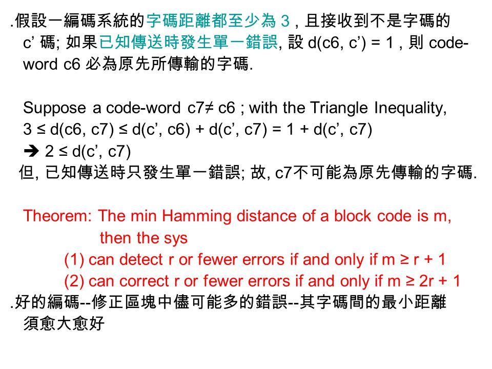 ․假設一編碼系統的字碼距離都至少為 3, 且接收到不是字碼的 c' 碼 ; 如果已知傳送時發生單一錯誤, 設 d(c6, c') = 1, 則 code- word c6 必為原先所傳輸的字碼. Suppose a code-word c7≠ c6 ; with the Triangle Inequ