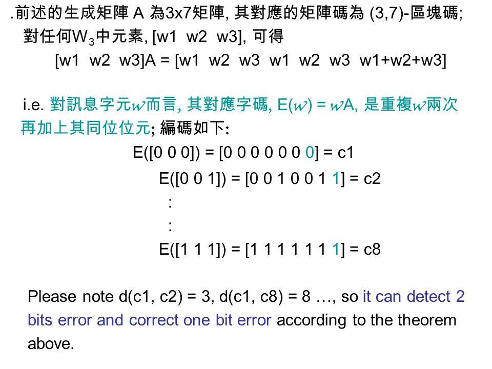 ․前述的生成矩陣 A 為 3x7 矩陣, 其對應的矩陣碼為 (3,7)- 區塊碼 ; 對任何 W 3 中元素, [w1 w2 w3], 可得 [w1 w2 w3]A = [w1 w2 w3 w1 w2 w3 w1+w2+w3] i.e. 對訊息字元 w 而言, 其對應字碼, E( w ) = w A