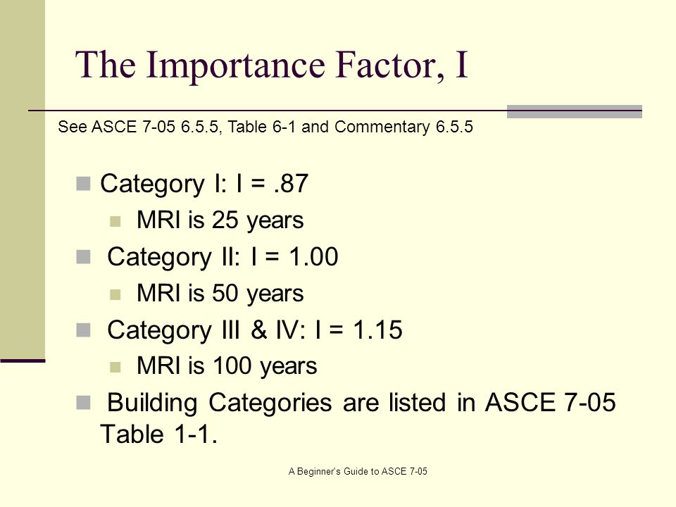 The Importance Factor, I Category I: I =.87 MRI is 25 years Category II: I = 1.00 MRI is 50 years Category III & IV: I = 1.15 MRI is 100 years Building Categories are listed in ASCE 7-05 Table 1-1.
