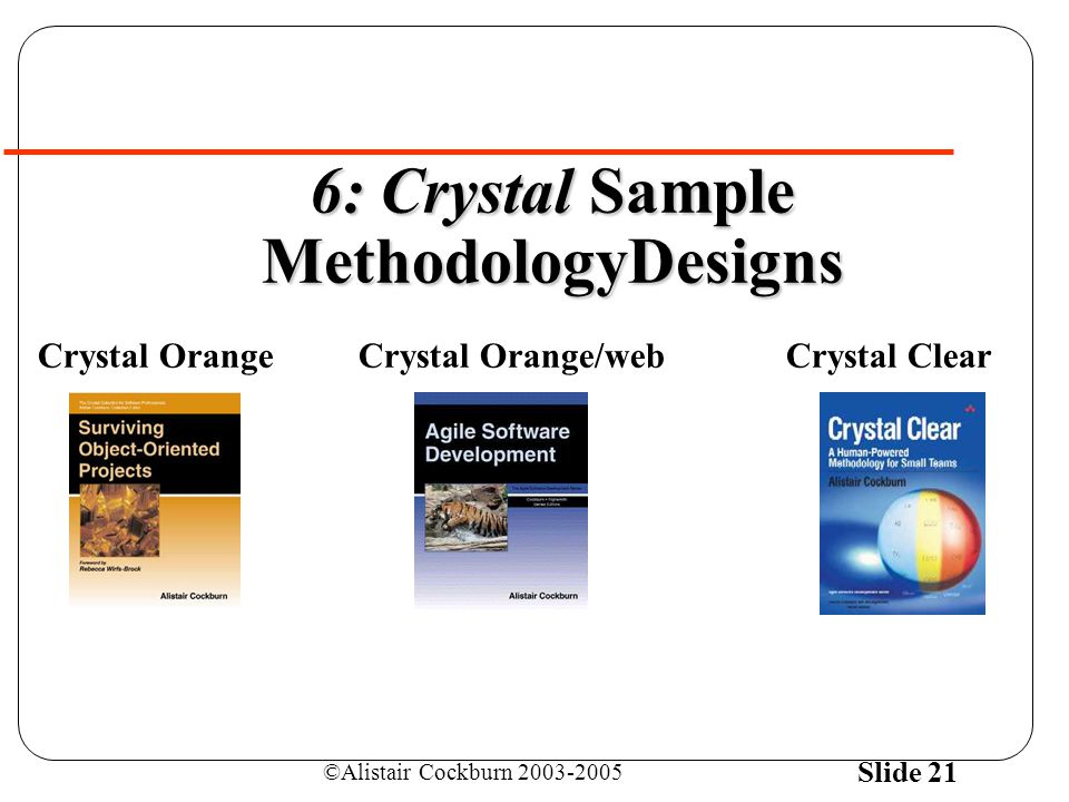 ©Alistair Cockburn 2003-2005 Slide 21 6: Crystal Sample MethodologyDesigns Crystal OrangeCrystal Orange/webCrystal Clear